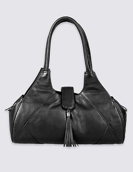 Leather Tassel Apron Shoulder Bag