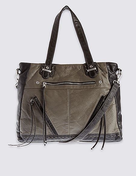 Faux Leather Slouch Tote Bag