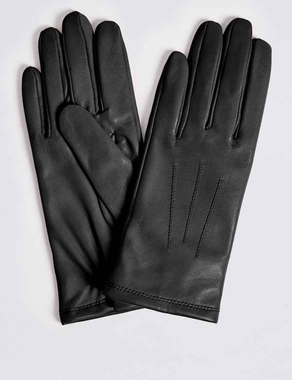 85a61b126beba Leather Stitch Detail Gloves