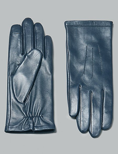 Touch Screen Leather Stitch Detail Gloves