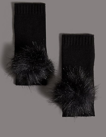 Pure Cashmere Pom Pom Hand Warmer Gloves