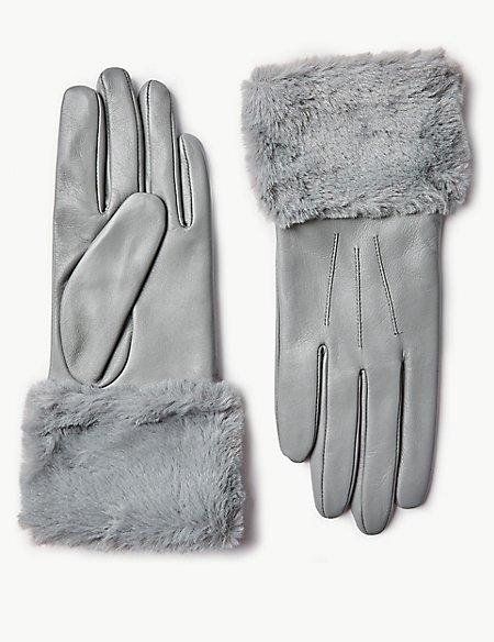 Leather Faux Fur Gloves