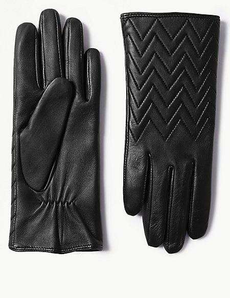 Leather Quilted Cuff Gloves