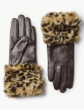 Leather Animal Print Faux Fur Gloves