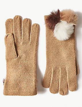 Knitted Pom-Pom Gloves