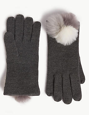 Knitted Pom-pom Gloves
