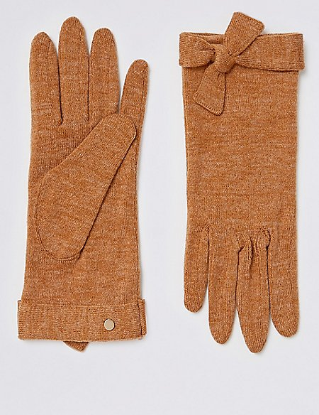 Textured Knot Detail Gloves