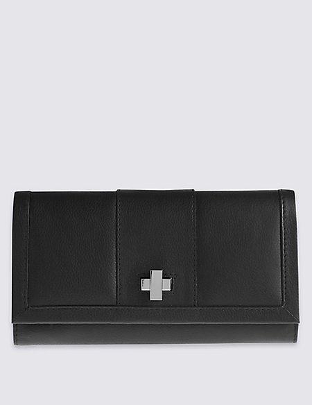 Pure Leather Turn-Lock Purse