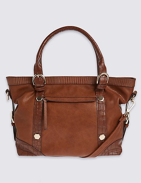 Faux Leather Slouch Shoulder Bag