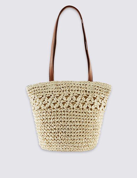 Straw Bucket Shoulder Bag