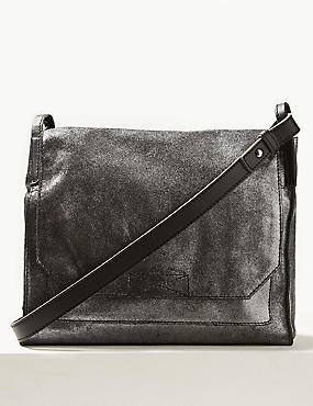Metallic Suede Cross Body Bag