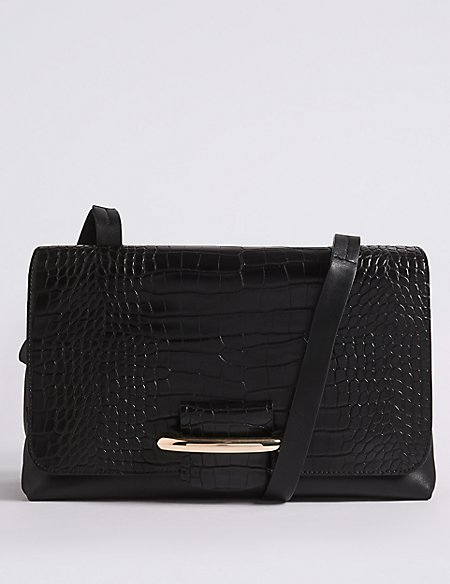 Faux Leather Bar Detail Shoulder Bag
