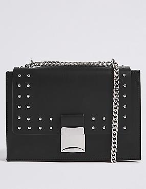 Faux Leather Push Lock Shoulder Bag