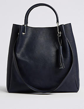 Faux Leather Double Handle Shoulder Bag