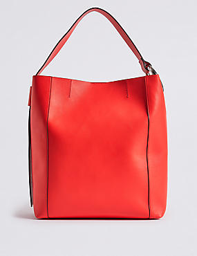 Faux Leather Ring Slouch Shoulder Bag