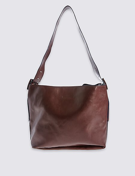 Faux Leather Buckle Hobo Bag