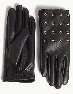 Faux Leather Eyelet Detail Gloves