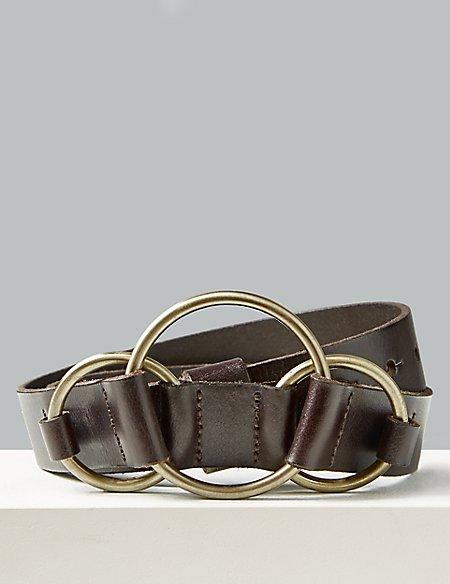 Leather Ring Buckle Waist Belt