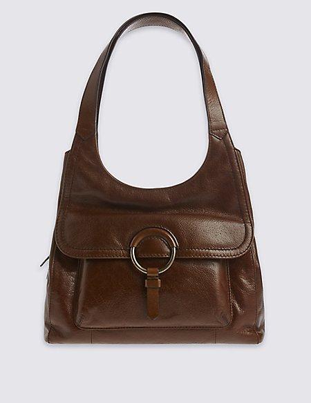 Leather Ring Detail Hobo Bag