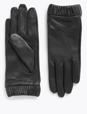 Touchscreen Leather Cuffed Gloves