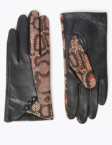 Leather Snake Print Gloves