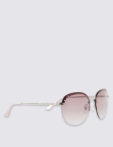 Rimless Diamanté Rectangle Sunglasses