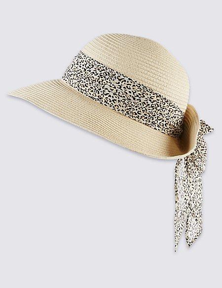 Animal Print Scarf Trim Hat