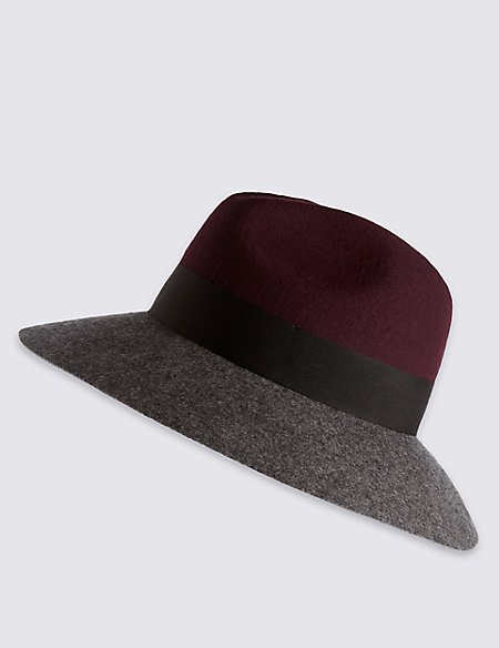 Pure Wool Block Colour Fed Hat