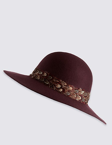 Pure Wool Feather Floppy Hats