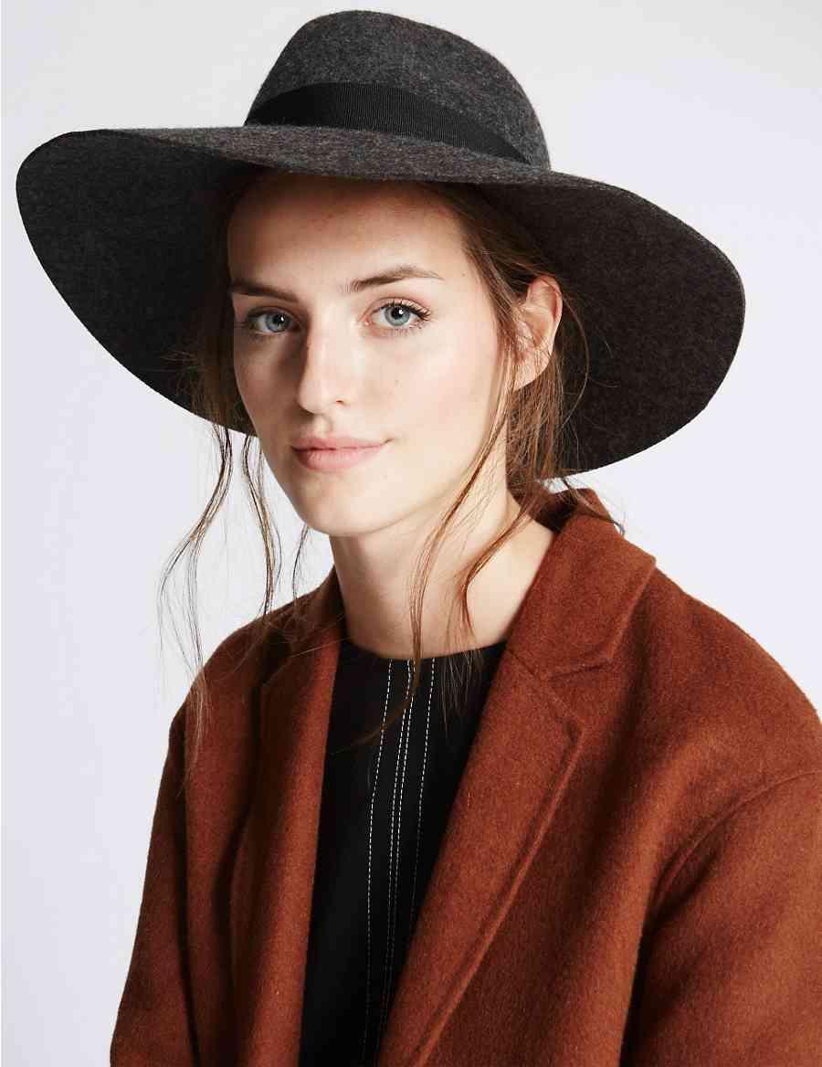 Pure Wool Marl Oversized Fedora Hat  6faa3c40c31e