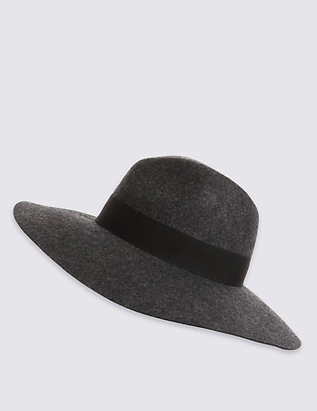 Pure Wool Marl Oversized Fedora Hat