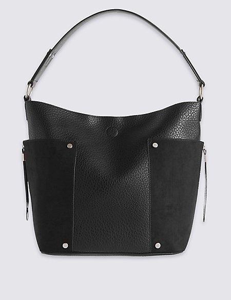 Faux Leather Side Pocket Hobo Bag