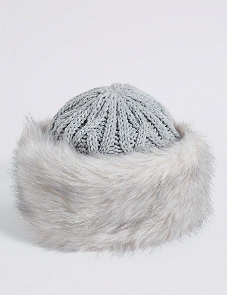 Faux Fur Cable Knit Winter Hat