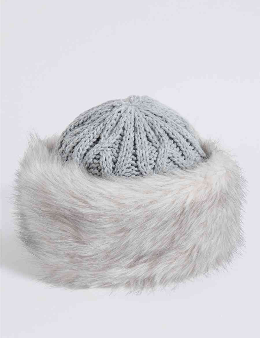 Faux Fur Cable Knit Winter Hat  e7a1a485d39b