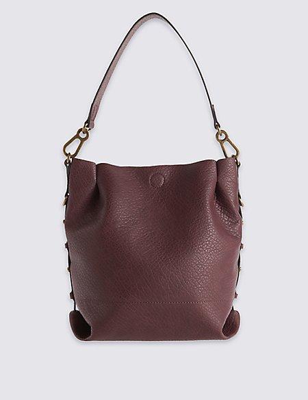 Faux Leather Grainy Hobo Bag