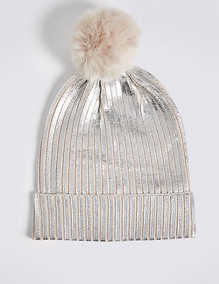 Foil Knit Pom Winter Hat