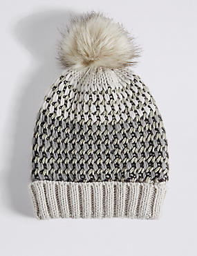 Textured Sparkle Pom Hat