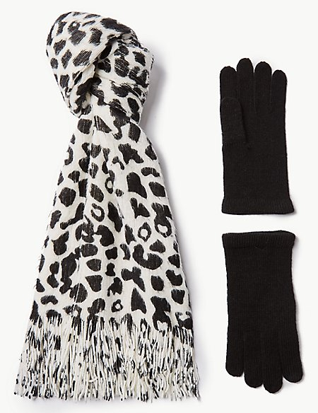 Animal Print Scarf & Gloves Set