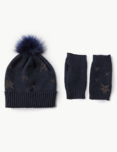 Star Print Hat with Gloves Set