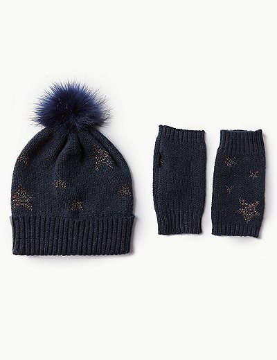 Conjunto de guantes y gorro con estampado de estrellas  cd215160b61