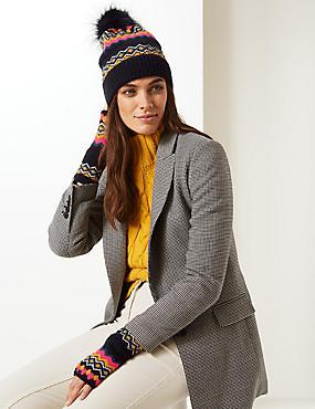 Fairisle Print Hat with Gloves Set
