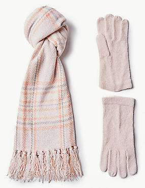 Checked Scarf with Gloves Set