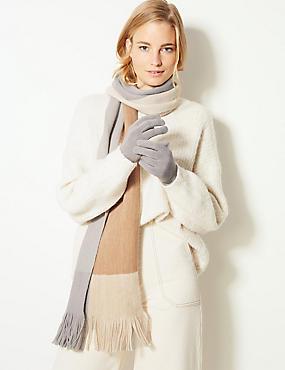 Colour Block Scarf & Gloves Set