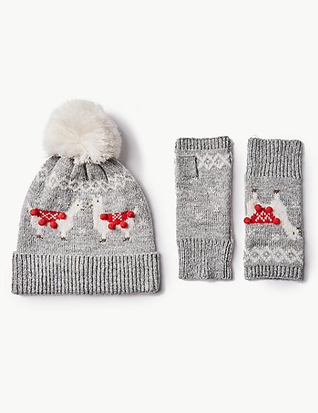 Llama Hat with Gloves Set