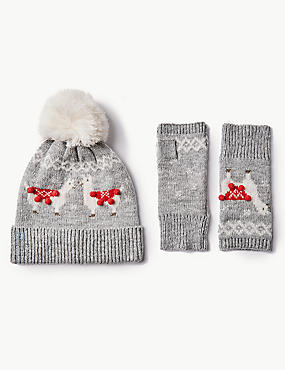 Llama Hat with Gloves Set