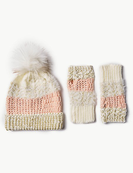 Knitted Hat with Gloves Set