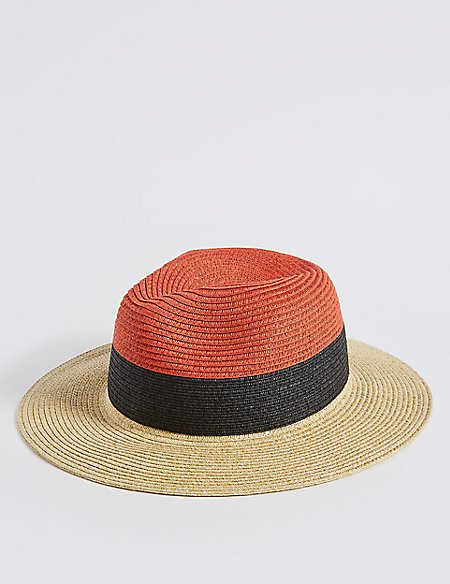 Colour Block Fedora Hat