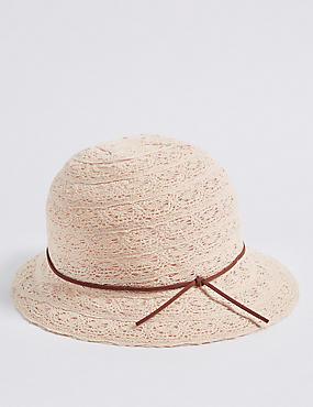 Cotton Blend Cloche Sun Hat
