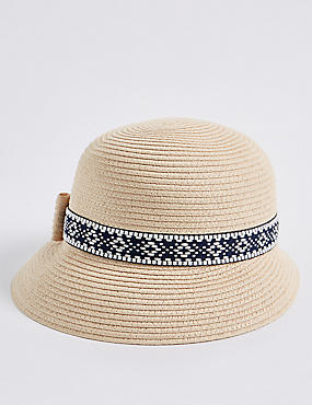 Stripe & Trim Sun Hat
