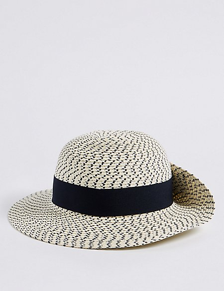 Textured Scarf Trim Sun Hat